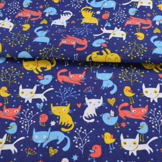 Деко-котон синій, різнокольорові кішки, пташки, ш.150