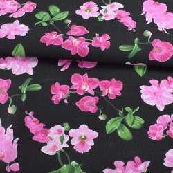 Деко-котон чорний, рожеві орхідеї, ш.150