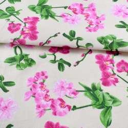 Деко-коттон молочный, розовые орхидеи, ш.150