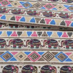 Деко-котон молочний, орнамент зі слонами, ш.150