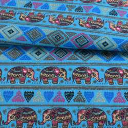 Деко-коттон голубой, орнамент со слонами, ш.150