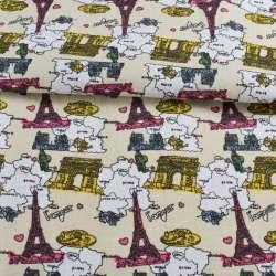 Деко-коттон кремовый, Эйфелева башня, карта, ш.150