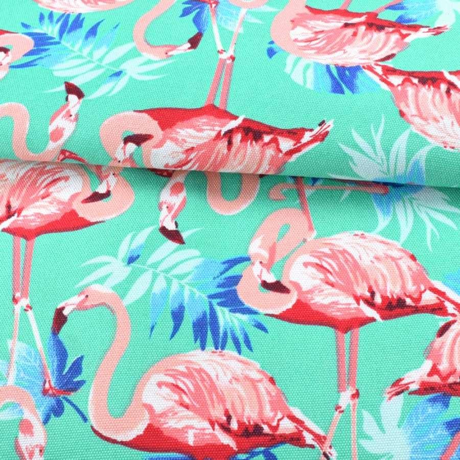 Деко-коттон бирюзовый, розовые фламинго, голубые листья, ш.150