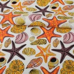 Деко-коттон белый, разноцветные раковины, морские звезды, ш.150