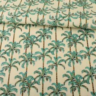 Деко-котон молочний, зелені пальми, ш.150