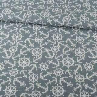 Деко-коттон серый, белые якоря, штурвалы, ш.150