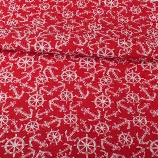 Деко-коттон красный, белые якоря, штурвалы, ш.150