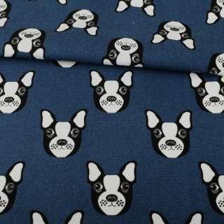 Деко-котон синій темний, чорно-білі собачки, ш.150