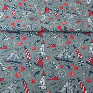 Деко-коттон серый, красно-белые маяки, кораблики, ш.150