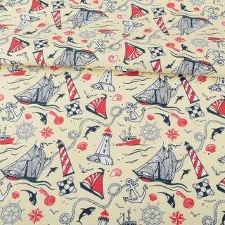Деко-коттон молочный, красно-белые маяки, кораблики, ш.150