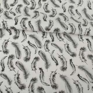 Деко-котон білий, сірі пір'я, ш.150