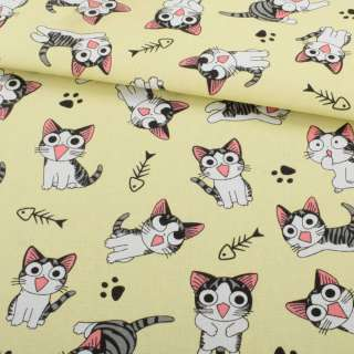 Деко-котон жовтий світлий, сіро-біле кошеня Чи, ш.150