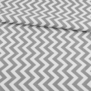 Деко-коттон в бело-серые зигзаги ш.150