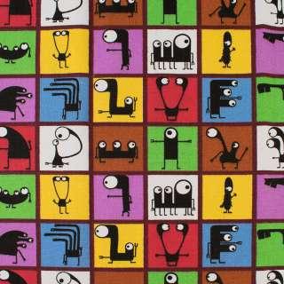 Деко-коттон цветные квадраты с черными монстриками, ш.150