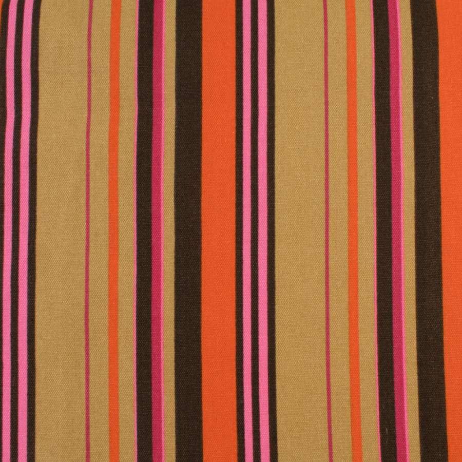 Деко-коттон бежево-коричневые, оранжево-малиновые полоски, ш.150