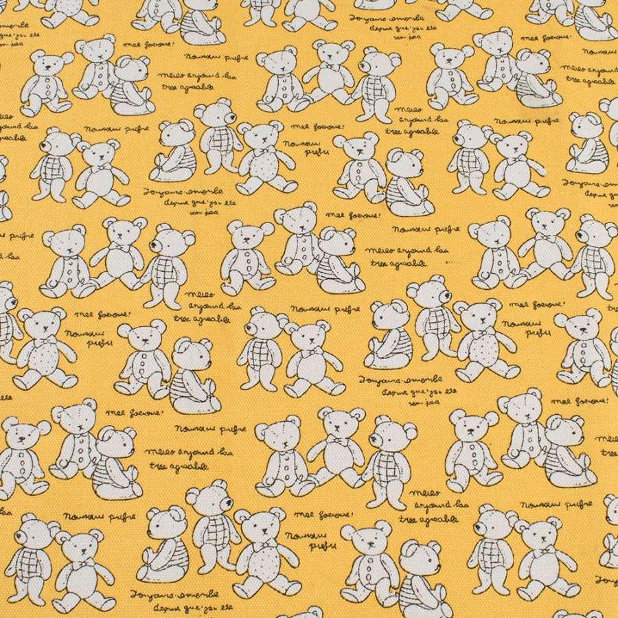 Деко-коттон желтый с белыми мишками, ш.150