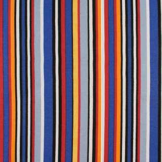 Деко-коттон синие, черно-белые, красно-желтые полоски, ш.150