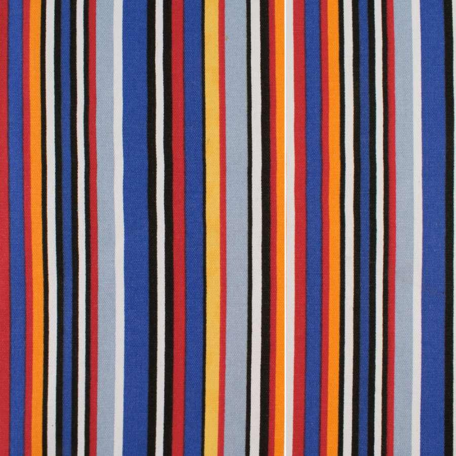 Деко-котон сині, чорно-білі, червоно-жовті смужки, ш.150