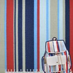Деко-котон синьо-блакитні, бежево-червоні смужки ш.150