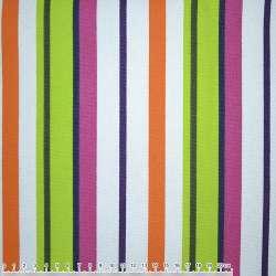 Ткань мебельная салатово-малиновые, оранжево-белые полоски ш.150