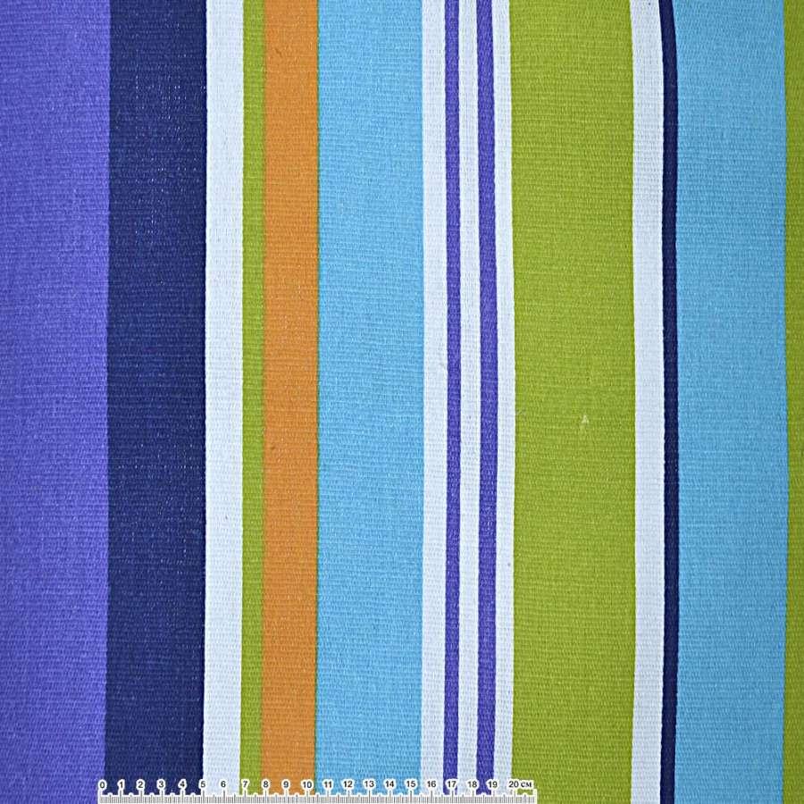 Ткань мебельная фиолетовые, сине-голубые, желто-белые широкие полоски ш.150