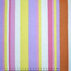 Ткань мебельная желто-сиреневые, розово-белые полоски ш.150