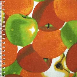 ткань мебел. белая с орнжево-зелеными яблоками ш.150