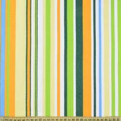 Деко-коттон желто-зеленые, бело-голубые полоски ш.150
