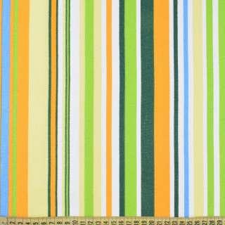 Деко-котон жовто-зелені, біло-блакитні смужки ш.150