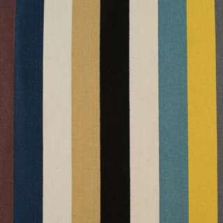 Деко-коттон молочно-черные, желто-серые, голубые широкие полоски, ш.150