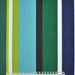 ткань мебел. бирюз-зелен+салат-син.+белые шир. полоски ш.150