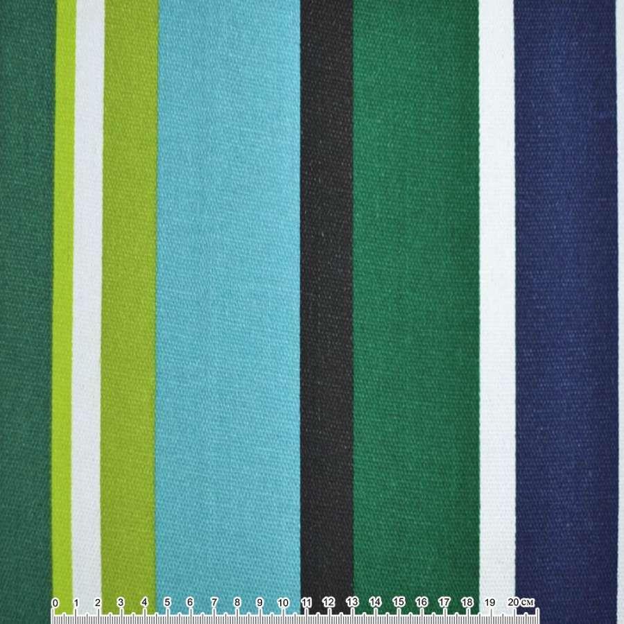 Ткань мебельная бирюзово-зеленые, салатово-синие, белые широкие полоски ш.150