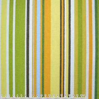 ткань мебел. оранж-зелен+салат-желтые+белые полоски ш.150