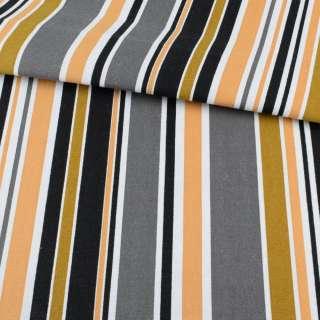 Деко-коттон бежево-коричневые и белые полоски ш.150