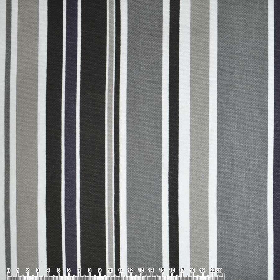 Деко-коттон серо-черные, белые полоски ш.150