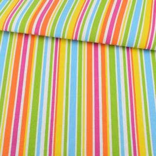 Деко-коттон зелено-голубые, оранжево-малиновые полоски ш.150