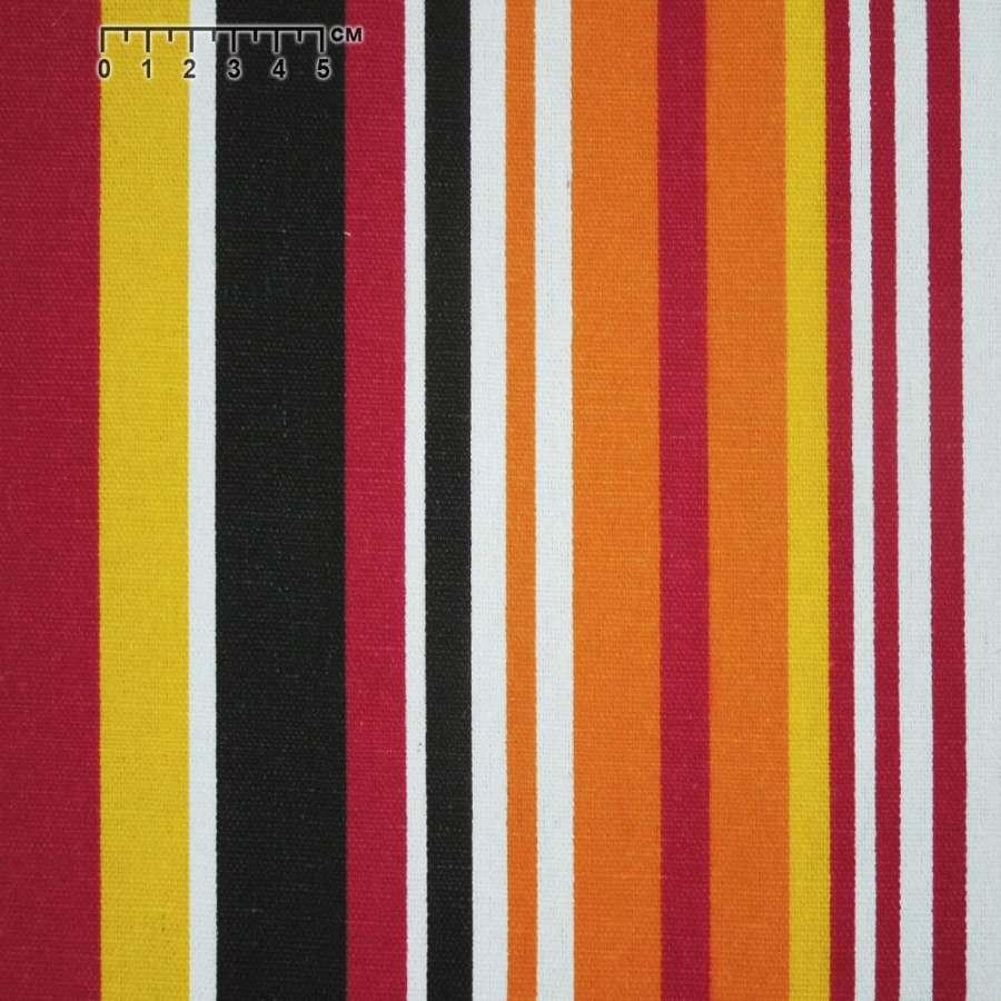 ткань мебел. желто-красные+оранжево-белые полоски ш.150