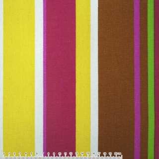 Ткань мебельная малиново-желтые, корич-белые широкие полоски ш.150
