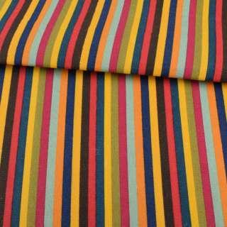 ткань мебел. сине-желтые+корич-красн. и др. полоски ш.150