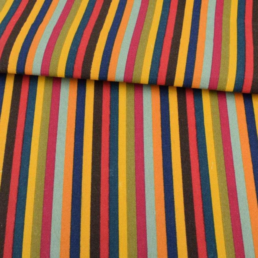 Тканина меблева синьо-жовті, коричнево-червоні, зелено-малинові смужки ш.150
