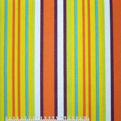 Ткань мебельная салатово-желтые и оранжево-белые полоски ш.150