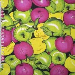 ткань мебел. разноцвет. яблоки - желтые+зелен+малин. ш.150