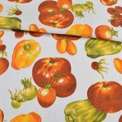 Деко-котон білий, помаранчеві овочі, ш.150
