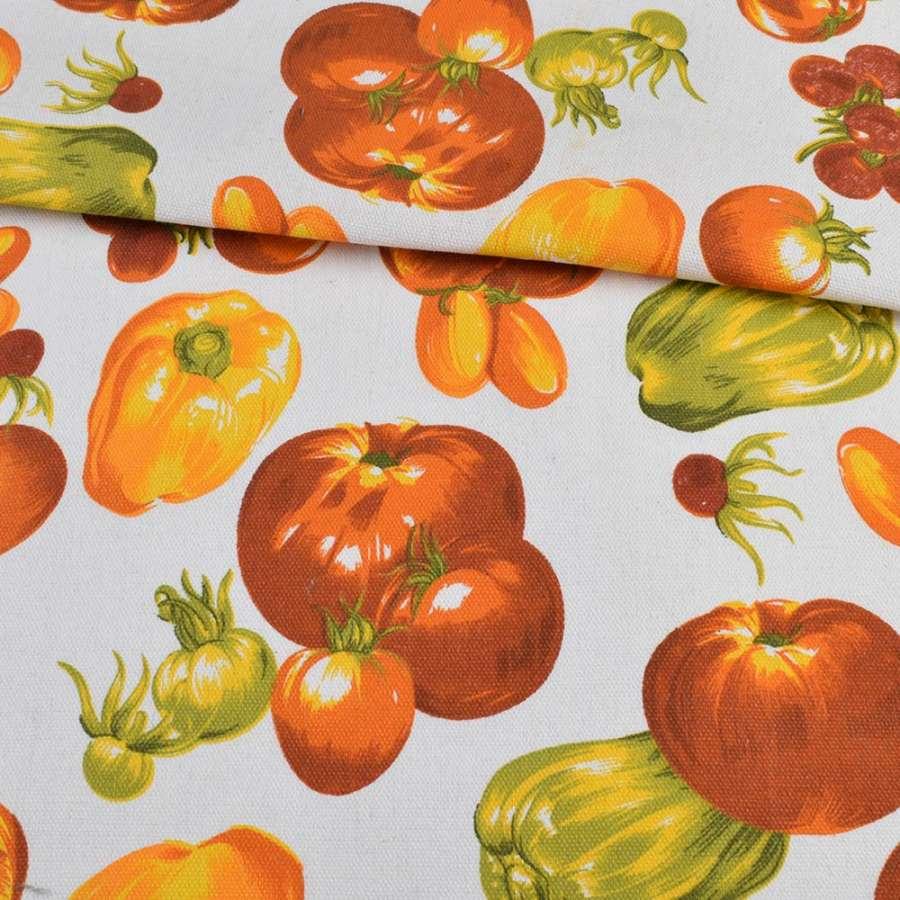 Деко-коттон белый, оранжевые овощи, ш.150