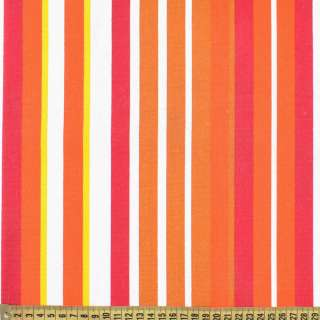 Деко-котон коричнево-білі, бордово-помаранчеві смужки ш.150