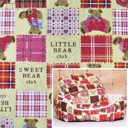 Ткань мебельная желтая светлая в красные квадраты с мишками ш.150
