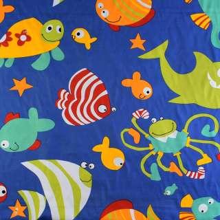 Деко-коттон синий аквариум, ш.150