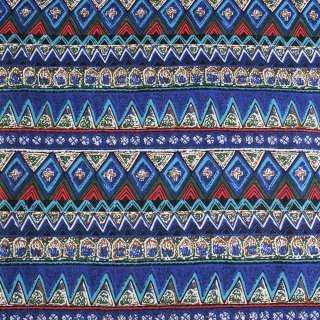Деко-лен синий в зелено-голубые полосы и узоры ш.150