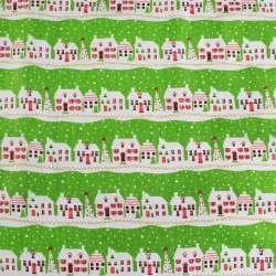 Деко-лен салатовый в полосы бело-красных домиков ш.150