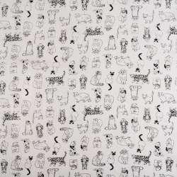 Деко-лен белый в черно-белые кошечки ш.155